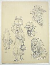 BENJAMIN SARRAILLON ( 1902-1989 )- DESSIN AU CRAYON-PORTRAITS