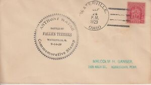 1929 #680-1 FALLEN TIMBERS FDC w WATERVILLE OH POST OFFICE CACHET TO NORRISTOWN