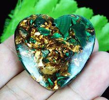 C5831 40x40x7mm Malachite Gold Copper Bornite Stone Heart Pendant Bead
