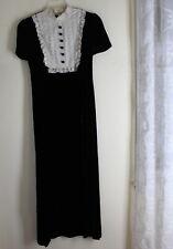 VTG 80s 70s Long Velvet Lace Designer Western BLACK Romantic Lace Bib Dress S M