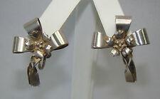 Vintage Sterling Silver Flower Bow Screw On Earrings - 7.62 Grams - # M583