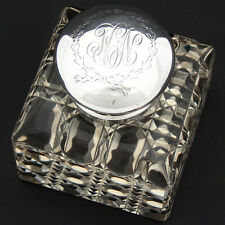 """Lg Antique American Sterling Silver & Brilliant Facet Cut Crystal 3.5"""" Inkwell"""