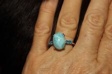 Larimar & Neon Apatite, Sterling Silver Ring Size 8
