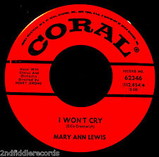 MARY ANN LEWIS-I Won't Cry & One Sweet Smile-A Rarer Teen Soul 45-CORAL #62346