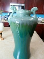 "VTG GREEN W/WHITE DRIP GLAZE CERAMIC POTTERY VASE 13"" TL PEACOCK HEAD HNDLES 5LB"