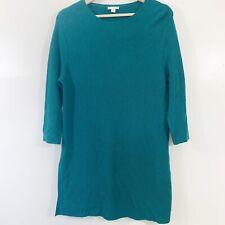 J. Jill Wool Blend Sweater M Petite Green 3/4 Sleeve Long Tunic Split Side