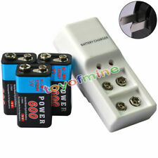 3x 9V 6F22 PPS Block 600mAh Ni-Mh Rechargeable Battery + Dual Batteries Charger