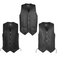 DEFY New Men's Black Genuine Leather Motorcycle Biker Premium Quality Vest