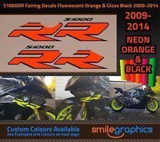 BMW S1000RR Fairing Decals. 2009-14 Fluorescent Orange & Gloss Black Stickers