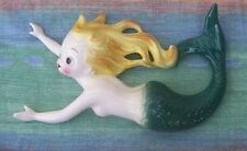 Very Rare Vintage Py Ceramic Mermaid Wall Plaque Antique Mint Hands Outstretched