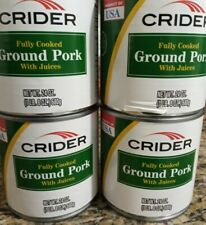 4 Cans of CRIDER Fully Cooked Ground Pork w/ Juices - 1 LB 8 oz Each - EXP 12/21