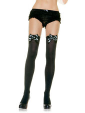 Black Opaque Skull Pirate Satin Bow Hold Up Stockings Leg Avenue 6296
