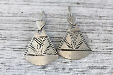 Dangle Etched Handmade Retro Vintage Tribal Silver Tone Earrings