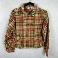 Basic edition womens light weight zip up jacket size 12 plaid multicolor