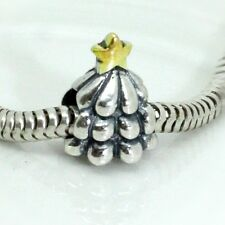 CHRISTMAS TREE w. gold plated Star-Solid 925 sterling silver European charm bead