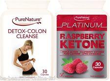 30 Raspberry Ketone Platinum Mango Caffeine & 30 Detox Colon Cleanse Diet Pills