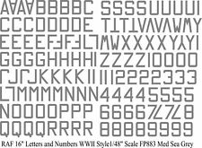 """RAF Numbers and Letters 16"""" water slide transfers WW11  GREY  1/48  FP883MSG"""