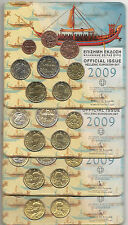 2009 GREECE  LOTO  of 4 Blister  official BU issue Kms set Year 2009.
