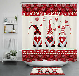"71"" Valentine's Day Gnome Elf Red Hearts Shower Curtain Bathroom Accessory Sets"