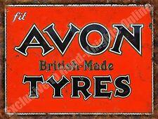 Vintage Garage Avon Tyres, 131 British Motorsport Old Car, Large Metal/Tin Sign