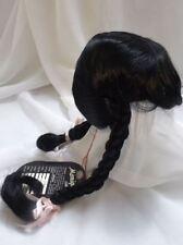 """Sz 16/17"""" Braids & Bangs Black Monique Doll Wig Reborn OOAK Repair KATHY"""