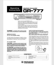 Pioneer GR-777 Stereo Graphic Equalizer Operating Instruction EQ USER MANUAL