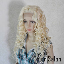 HAND TIED Synthetic Hair LACE FRONT FULL WIGS Wavy GLUELESS Light Blonde 99#613
