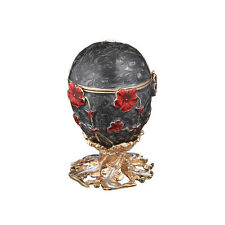 Decorative Faberge Egg / Trinket Jewel Box with Flowers 2.4'' (6 cm) black