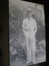 Old postcard man in whites in his garden c1900s