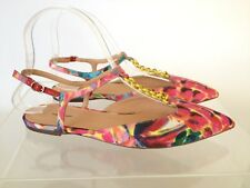 J.CREW Pointed-toe Flats Sandals Chain Link in Ratti Painted Pineapple 6 Pink
