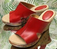 BORN RED LEATHER SLIP ONS OPEN TOE MULES SANDALS HEELS SHOES US WOMENS SZ 10 M