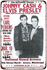 Johnny Cash and Elvis Presley Concert Vintage Reproduction metal Sign 8 x 12