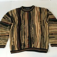 Vtg 90s Tundra Canada Men Medium 3D Coogi-Style Cosby Textured Pullover Sweater