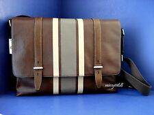NWT Fossil Men's Kent Leather Messenger Brown Stripe w/SilverTone Hardware
