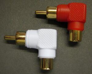 Right Angle Phono RCA Socket to Plug 90 Deg Adaptor x 2   (1 Red 1 White)