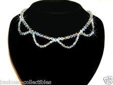 w Swarovski Crystal Bridal Wedding Jewelry Curve wave Sterling Silver Necklace