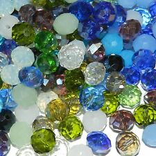 CR697e Blue Mix Color & Finish 10mm Rondelle Faceted Crystal Glass Beads 50/pkg