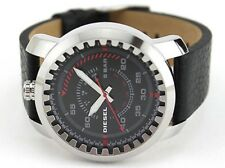 DIESEL DZ1750 RIG MEN'S BLACK LEATHER STRAP WATCH . NEW WITH TAGS