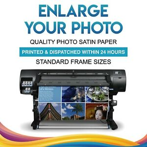 ENLARGE YOUR PHOTO onto PREMIUM 210gsm SATIN PAPER POSTER STANDARD FRAME SIZES