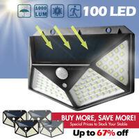 100 LED Solar Powered Light Outdoor Wireless Motion Sensor Wall Yard Garden Lamp