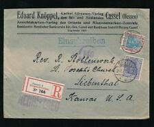 GERMANY 1921 REGISTERED CASSEL to KANSAS LIEBENTHAL