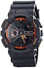 Casio G Shock Black Orange Resin World Time Analog Digital Watch GA110TS-1A4