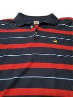 Brooks Brothers Performance Polo Long Sleeve Shirt L Large Red Navy Striped