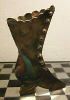 Vintage Brass Plate Boot Shaped Freestanding Posy Holder Decorative
