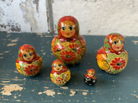 Vtg Russian Nesting dolls Matryoshka set 5 pcs. Hand painted in Russia 2.5''
