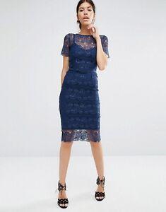 Designer Body Frock Lisa Sculpting Lace Midi Evening Dress Cobalt UK 6/EU 34/US2