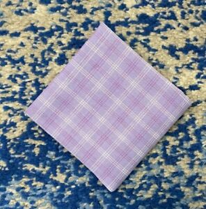 Lavender Fuchsia White Cotton Pocket Square Handkerchief Neckerchief Bandana