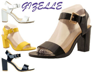WOMENS LADIES SUMMER ANKLE STRAPPY MID BLOCK HEEL PEEP TOE SANDALS SHOES 3-8