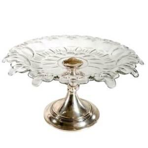 Large Antique Dutch Silver and Cut Glass Tazza c. 1910