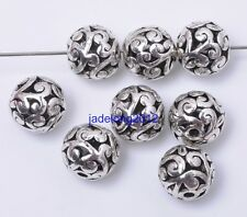 10pcs Tibetan Silver Charm Jewelry Findings Hollow Bead Spacer Beads 10mm C3022
